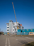 Large extendable crane at construction site, Ipswich, Suffolk, England