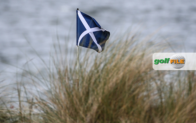 Saltire pin flag during Round Two of the 2016 Aberdeen Asset Management Scottish Open, played at Castle Stuart Golf Club, Inverness, Scotland. 08/07/2016. Picture: David Lloyd | Golffile.<br /> <br /> All photos usage must carry mandatory copyright credit (&copy; Golffile | David Lloyd)