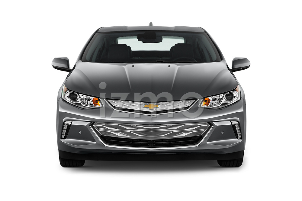 Car photography straight front view of a 2016 Chevrolet Volt Premier 5 Door Hatchback Front View