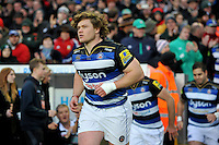 Nick Auterac and the rest of the Bath Rugby team run out onto the field. Aviva Premiership match, between Leicester Tigers and Bath Rugby on November 29, 2015 at Welford Road in Leicester, England. Photo by: Patrick Khachfe / Onside Images