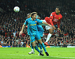 Manchester United's Nani gets a header in on goal during the Champions League semi- final 2nd leg match at Old Trafford, Manchester. Picture date 29th April 2008. Picture credit should read: Simon Bellis/Sportimaged