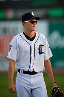Connecticut Tigers Parker Meadows (12) warms up before a game against the Hudson Valley Renegades on August 20, 2018 at Dodd Stadium in Norwich, Connecticut.  Hudson Valley defeated Connecticut 3-1.  (Mike Janes/Four Seam Images)
