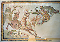 Roman mosaic of an Amazon on horseback fighting, From Daphne, a suburb of Antioch, Antakya, Turkey, 4th century AD. Marble blocks and glass paste cubes. The mosaic depicts the legendary woman warriors known as the Amazons, who fought with one breast showing, fighting a soldier with armour. inv 3463, The Louvre Museum, Paris