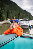 CANADA, Vancouver, British Columbia, pulling into the dock in Port Graves, Gambier Island, Howe Sound