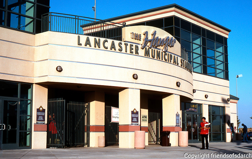 Ballparks: Lancaster Municipal Stadium Facade. Rather like an airport control tower.