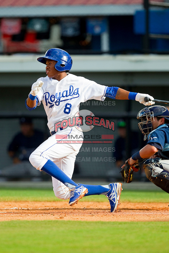 Desmond Henry (8) of the Burlington Royals follows through on his swing against the Princeton Rays at Burlington Athletic Park on July 5, 2013 in Burlington, North Carolina.  The Royals defeated the Rays 5-1 in game one of a doubleheader.  (Brian Westerholt/Four Seam Images)