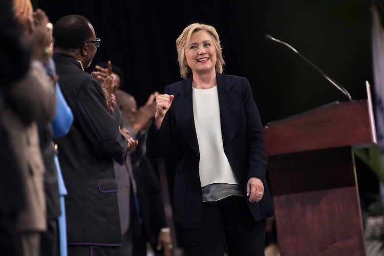UNITED STATES - JULY 8: Presidential candidate Hillary Clinton arrives to address the African Methodist Episcopal Church conference held at the Pennsylvania Convention Center in Philadelphia, July 8, 2015. (Photo By Tom Williams/CQ Roll Call)