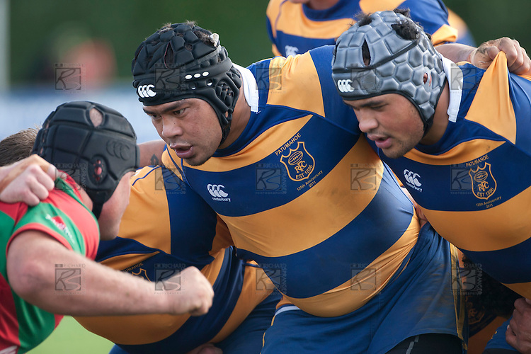 Ilaisa Maasi and Siousiua Pole ready to pack down in a scrum. Counties Manukau Premier Club Rugby game between Waiuku and Patumahoe, played at Waiuku on Saturday April 23rd 2011. Patumahoe won 21 - 20 after leading 6 - 0 at halftime.