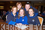 NEXT QUESTION PLEASE: Girls's from St. Brigid's Secondary School Killarney were anxious to find out who won the Religion Quiz on Tuesday held in the Fel's Point Hotel. From front l-r were: Shaunagh O'Connell, Rebecca O'Sullivan and Maura O'Connor. From back l-r were: Marie McKenna and Eileen O'Connell.   Copyright Kerry's Eye 2008