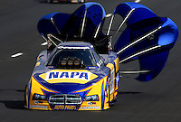 Jul. 20, 2013; Morrison, CO, USA: NHRA funny car driver Ron Capps during qualifying for the Mile High Nationals at Bandimere Speedway. Mandatory Credit: Mark J. Rebilas-