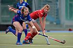 GER - Mannheim, Germany, April 22: During the German Hockey Bundesliga women match between Mannheimer HC (blue) and Club an der Alster (red) on April 22, 2017 at Am Neckarkanal in Mannheim, Germany. Final score 1-1 (HT 1-0).  Hanna Granitzki #18 of Club an der Alster, Nadine Kanler #4 of Mannheimer HC<br /> <br /> Foto &copy; PIX-Sportfotos *** Foto ist honorarpflichtig! *** Auf Anfrage in hoeherer Qualitaet/Aufloesung. Belegexemplar erbeten. Veroeffentlichung ausschliesslich fuer journalistisch-publizistische Zwecke. For editorial use only.