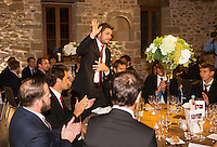 Switserland, Genève, September 16, 2015, Tennis,   Davis Cup, Switserland-Netherlands, location of the official diner, Domaine du Clos Du Chateau,  Stan Wawrinka is being presented<br /> Photo: Tennisimages/Henk Koster