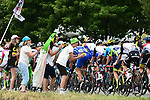 The peloton in action during Stage 15 of the 2018 Tour de France running 181.5km from Millau to Carcassonne, France. 22nd July 2018. <br /> Picture: ASO/Alex Broadway | Cyclefile<br /> All photos usage must carry mandatory copyright credit (&copy; Cyclefile | ASO/Alex Broadway)