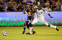 Midfielder Dane Richards of the New York Red Bulls picks up a foul in the box by LA Galaxy defender Yohance Marshall. The New York Red Bulls beat the LA Galaxy 2-0 at Home Depot Center stadium in Carson, California on Friday September 24, 2010.