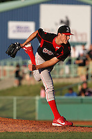 Batavia Muckdogs pitcher Kevin Siegrist (19) during a game vs. the Mahoning Valley Scrappers at Eastwood Field in Niles, Ohio;  June 24, 2010.   Batavia defeated Mahoning Valley 6-3.  Photo By Mike Janes/Four Seam Images