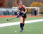 EASTON, MA - NOVEMBER 20:  Brooke Shelley (14) of Shippensburg University looks to pass during the NCAA Division II Field Hockey Championship at WB Mason Stadium on November 20, 2016 in Easton, Massachusetts.  Shippensburg University defeated LIU Post 2-1 for the national title. (Photo by Winslow Townson/NCAA Photos via Getty Images)