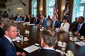 United States President Barack Obama, center, holds a cabinet meeting at the White House in Washington, D.C., U.S., on Tuesday, July 1, 2014. Obama said yesterday he'll go it alone on changing U.S. immigration rules because House Republicans won't act. <br /> Credit: Andrew Harrer / Pool via CNP