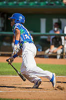 Deion Ulmer (3) of the Ogden Raptors at bat against the Grand Junction Rockies in Pioneer League action at Lindquist Field on July 5, 2015 in Ogden, Utah. Ogden defeated Grand Junction 12-2. (Stephen Smith/Four Seam Images)
