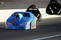 Oct. 26, 2012; Las Vegas, NV, USA: NHRA pro stock driver Warren Johnson during qualifying for the Big O Tires Nationals at The Strip in Las Vegas. Mandatory Credit: Mark J. Rebilas-