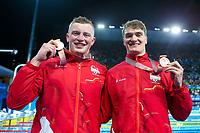 Picture by Alex Whitehead/SWpix.com - 09/04/2018 - Commonwealth Games - Swimming - Optus Aquatics Centre, Gold Coast, Australia - Adam Peaty and James Wilby of England win Silver and Bronze in the Men's 50m Breaststroke final.