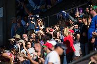Seattle, Washington - Sunday, June 12, 2016: Seattle Reign FC fans celebrate a goal by Seattle Reign FC midfielder Havana Solaun (19) during a regular season National Women's Soccer League (NWSL) match at Memorial Stadium. Seattle won 1-0.