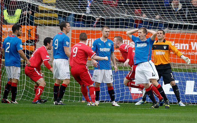 Brechin captain Graham Hay heads in the opening goal against Rangers and celebrates