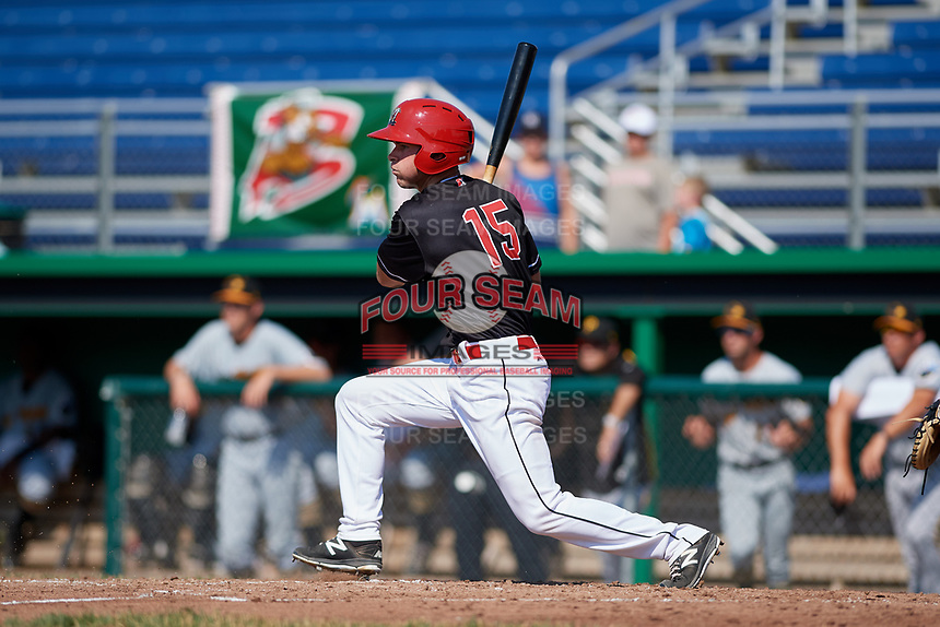 Batavia Muckdogs designated hitter Matt Brooks (15) grounds out during a game against the West Virginia Black Bears on July 1, 2018 at Dwyer Stadium in Batavia, New York.  Batavia defeated West Virginia 8-4.  (Mike Janes/Four Seam Images)