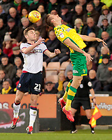 Bolton Wanderers' Joe Williams wins an aerial battle <br /> <br /> Photographer David Shipman/CameraSport<br /> <br /> The EFL Sky Bet Championship - Norwich City v Bolton Wanderers - Saturday 8th December 2018 - Carrow Road - Norwich<br /> <br /> World Copyright &copy; 2018 CameraSport. All rights reserved. 43 Linden Ave. Countesthorpe. Leicester. England. LE8 5PG - Tel: +44 (0) 116 277 4147 - admin@camerasport.com - www.camerasport.com