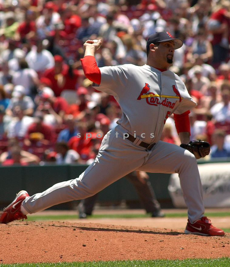 Al Reyes of the St. Louis Cardinals in action against the Cincinnati Reds. ....Cardinals lost 6-7.....Chris Bernacchi / SportPics..