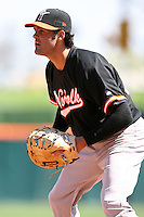 May 9, 2009:  First Baseman Mike Costanzo of the Norfolk Tides, International League Class-AAA affiliate of the Baltimore Orioles, in the field during a game at Coca-Cola Field in Buffalo, FL.  Photo by:  Mike Janes/Four Seam Images