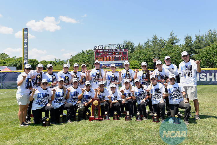 26 MAY 2014: The West Texas Lady Buffs after winning the school's first Division II softball championship at the Division II Women's Softball Championship held at the Moyer Sports Complex in Salem, VA.  West Texas defeated Valdosta State 3-2 for the national title.  Andres Alonso/NCAA Photos