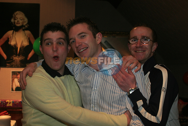 JP Gregory, Gary Coyle and Rob Ayres at JP's Suprise 21st upstairs in the Trinity Arms...Photo NEWSFILE/Jenny Matthews.(Photo credit should read Jenny Matthews/NEWSFILE)....This Picture has been sent you under the condtions enclosed by:.Newsfile Ltd..The Studio,.Millmount Abbey,.Drogheda,.Co Meath..Ireland..Tel: +353(0)41-9871240.Fax: +353(0)41-9871260.GSM: +353(0)86-2500958.email: pictures@newsfile.ie.www.newsfile.ie.FTP: 193.120.102.198.