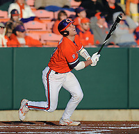 John Nester (17) hits in a game between the Charlotte 49ers and Clemson Tigers Feb. 20, 2009, at Doug Kingsmore Stadium in Clemson, S.C. (Photo by: Tom Priddy/Four Seam Images)