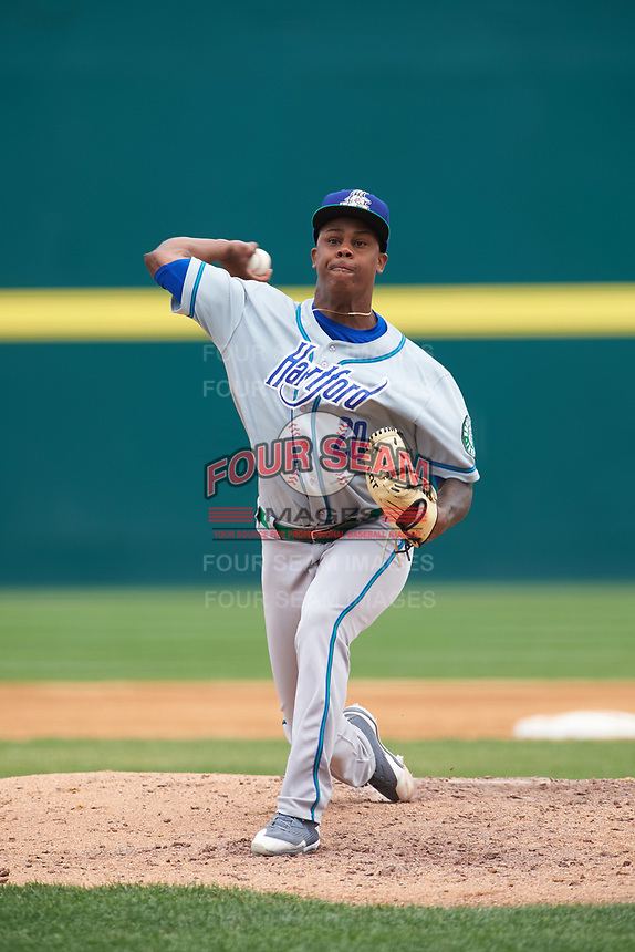 Hartford Yard Goats starting pitcher Yency Almonte (20) delivers a pitch during a game against the Binghamton Rumble Ponies on July 9, 2017 at NYSEG Stadium in Binghamton, New York.  Hartford defeated Binghamton 7-3.  (Mike Janes/Four Seam Images)