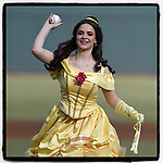 "When you go to the ballpark you never know who's going to throw out the ceremonial first pitch. This is Belle, a Disney character at ""Princess Knight""  at a  Columbia Fireflies game . . . and I believe she may be throwing a changeup. (Tom Priddy/Four Seam Images)"