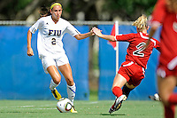 26 September 2010:  FIU's Chelsea Leiva (2) advances the ball in the second half as the FIU Golden Panthers defeated the Arkansas State Red Wolves, 1-0 in double overtime, at University Park Stadium in Miami, Florida.