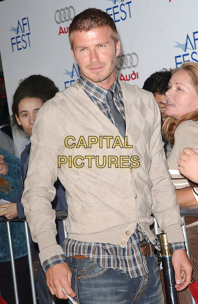 "DAVID BECKHAM.""Lions For Lambs"" 2007 AFI Festival Opening Night Gala held at the ArcLight Hollywood Cinemas, Hollywood, California, USA, 01 November, 2007..half length beige cardigan blue tartan plaid shirt.CAP/ADM/RE.©Russ Elliot/AdMedia/Capital Pictures."