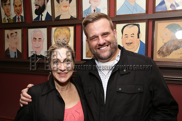 Edie Falco and Stephen Wallem attends the The Robert Whitehead Award presented to Mike Isaacson at Sardi's on May 10, 2017 in New York City.
