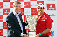 Thomas Aiken (RSA) with CEO of the European Tour George O'Grady after winning on Day 4 of the 2013 Avantha Masters, Jaypee Greens Golf Club, Greater Noida, Delhi, 17/3/13..(Photo Jenny Matthews/www.golffile.ie)