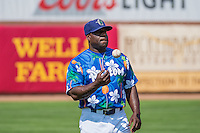 Ogden Raptors hitting coach Darryl Brinkley (48) before the game against the Billings Mustangs in Pioneer League action at Lindquist Field on August 16, 2015 in Ogden, Utah.Billings defeated Ogden 6-3.  (Stephen Smith/Four Seam Images)