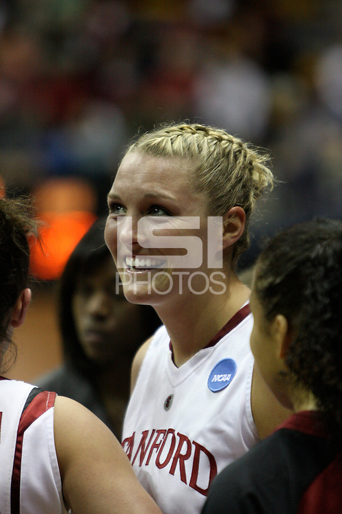 BERKELEY, CA - MARCH 30: Jayne Appel smiles in a timeout during Stanford's 84-66 win against the Ohio State Buckeyes on March 28, 2009 at Haas Pavilion in Berkeley, California.