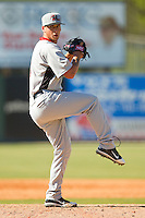 Hickory Crawdads relief pitcher Chris Hanna #6 in action against the Kannapolis Intimidators at CMC-Northeast Stadium on April 8, 2012 in Kannapolis, North Carolina.  The Intimidators defeated the Crawdads 12-11.  (Brian Westerholt/Four Seam Images)