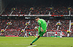 Ben Foster of West Bromwich Albion takes a goal kick during the premier league match at the Old Trafford Stadium, Manchester. Picture date 15th April 2018. Picture credit should read: Simon Bellis/Sportimage