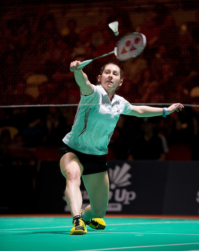 Kirsty GILMOUR (SCO) (5) in action today during her Ladies' Singles Finals defeat to Carolina MARIN (ESP) (3)<br /> <br /> Carolina MARIN (ESP) def Kirsty GILMOUR (SCO) 21-19 21-9<br /> <br /> Photo by Ashley Western/CameraSport<br /> <br /> Badminton - Badminton World Federation Grand Prix Gold 2013 - Day 6 - Sunday 6th October 2013 - Copper Box Arena, Queen Elizabeth II Olympic Park, London<br /> <br /> &copy; CameraSport - 43 Linden Ave. Countesthorpe. Leicester. England. LE8 5PG - Tel: +44 (0) 116 277 4147 - admin@camerasport.com - www.camerasport.com