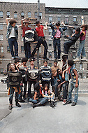 "New York, NY July 1972 - New York street gang ""Savage Skulls"". The trademark of the primarily Puerto Rican gang was a sleeveless denim jacket with a skull and crossbones design on the back. Based in the Hunts Point area of the  South Bronx, the gang declared war on the drug dealers that operated in the area. Running battles were frequent with rival gangs ""Seven Immortals"" and ""Savage Nomads""."