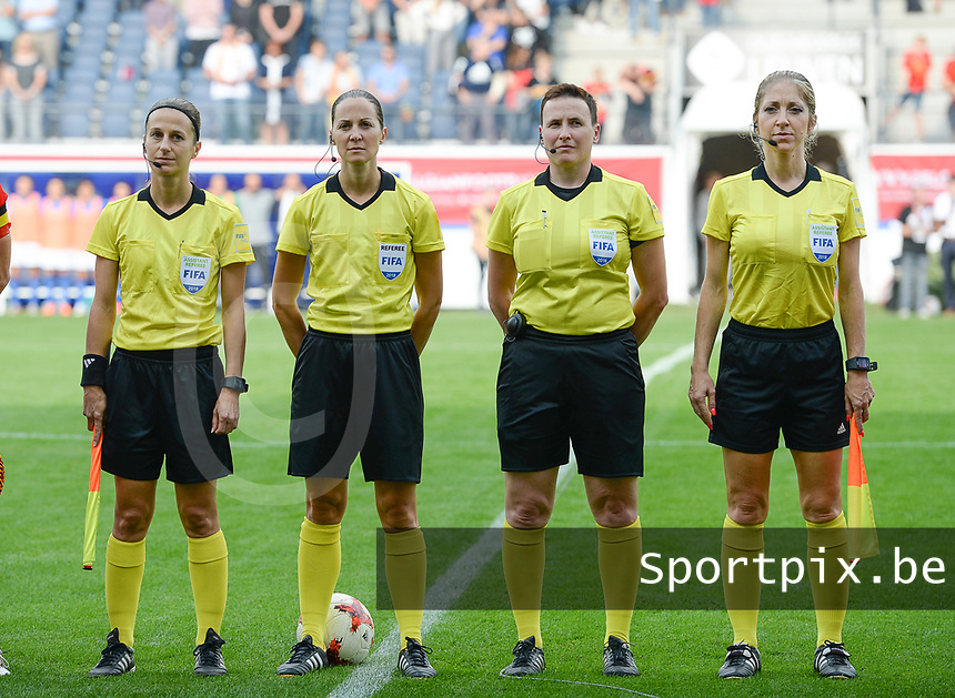 20180904 - LEUVEN , BELGIUM :  French Elodie Coppolo , French Florence Guillemin , Belgian Ella De Vries , French Manuela Nicolosi pictured during the female soccer game between the Belgian Red Flames and Italy , the 8th and last game in the qualificaton for the World Championship qualification round in group 6 for France 2019, Tuesday 4 th September 2018 at OHL Stadion Den Dreef in Leuven , Belgium. PHOTO SPORTPIX.BE | DAVID CATRY
