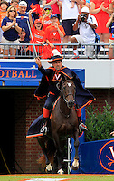 The Virginia  cavalier on his horse during the game in Charlottesville, VA. Virginia lost to UCLA 28-20. Photo/Andrew Shurtleff