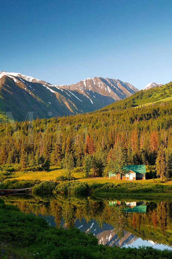 Cabin on Lower Summit Lake, Kenai Peninsula and the Chugach National Forest, Alaska