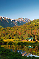 Cabin on Lower Summit Lake, Kenai Peninsula and the Chugach National Forest, Alaska