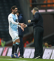 Blackburn Rovers Danny Graham leaves the pitch greeted by Blackburn Rovers Manager Tony Mowbray<br /> <br /> Photographer Mick Walker/CameraSport<br /> <br /> The EFL Sky Bet Championship - Blackburn Rovers v Ipswich Town - Saturday 19 January 2019 - Ewood Park - Blackburn<br /> <br /> World Copyright © 2019 CameraSport. All rights reserved. 43 Linden Ave. Countesthorpe. Leicester. England. LE8 5PG - Tel: +44 (0) 116 277 4147 - admin@camerasport.com - www.camerasport.com
